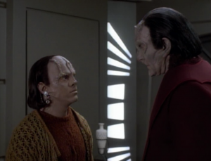 Rugel is introduced to his biological father, a dumb Cardassian