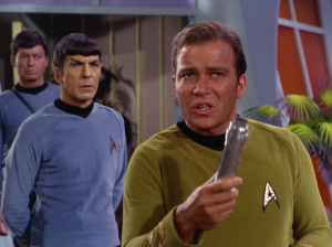 Kirk decides to negotiate with the companion using a metal rod. I think he forgot the order of operations. You're supposed to talk and then fight. It get's ruined when you do it the other way around. Kirk determines that the companion loves Zefram