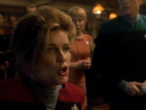 Janeway doesn't have her most dignified moment, yelling gibberish