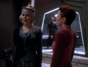 Odo figures out this lady's scheme. She was blackmailing Bajoran collaborators