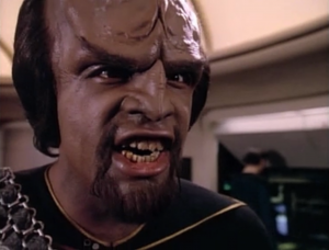 Wesley needs to talk to someone, so his next choice is Worf? Worf makes a weird noise
