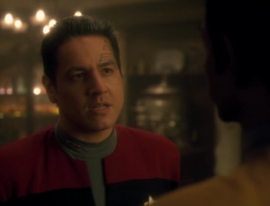 As the crew faces death, every starts touching each other and saying nice things, except for Chakotay who tells Tuvok he's arrogant and irritating...but one hell of an officer. Did he really need that first part?