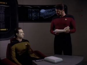 Riker's intitial points seem really good for his side, but then it just seems like he's messing around. He takes off Data's hand. So what? People can have removable hands