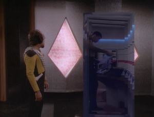 The room controls a gateway the cycles between locations. One of them is to the Enterprise!