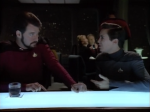 Wesley finally seeks advice from Riker. That makes more sense...Come to think of it, that's a bad idea too. I guess there really isn't anyone on Enterprise that Wesley should go to to learn how to talk to a girl.