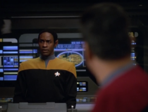 My favorite part of the episode is when Tuvok acts on his own during the communication with the hostile aliens