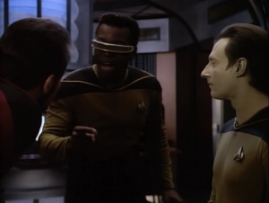 Geordi figures out a solution to the ship malfunctions. You just restart the computer. Hey that's what I do when there's a problem too!