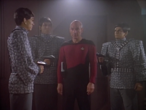 Picard has to go through the gateway a bit early because everything was blowing up. He ends up on the Romulan ship