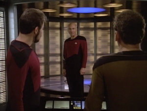 O'Brien manages to find Picard's location and he beams him over. They also help the Romulans to fix their ship