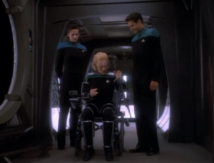 They get a visit from a cartography officer that's going to chart parts of the Gamma Quadrant. Her species is used to lower gravity