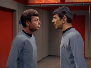 Bones and Spock make fun of each other!