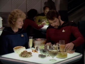 Riker tries a bunch of Klingon food and Pulaski joins him to be grossed out