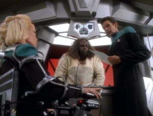 Bashir breaks through Melora's attacking nature and gets her to go on a date. It may be the first time where Bashir actually seemed to know what he was doing while flirting