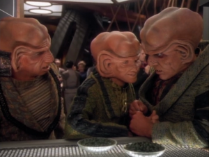 Quark is being sent to the Gamma quadrant by Zek