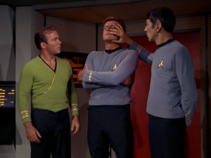 Is Spock doing a mind meld or is he just touching his face?
