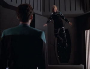 In her quarters Melora turns down the gravity and can fly around