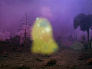 """A sparkly blob shows up. Zephram calls it """"the companion"""". It takes care of him"""