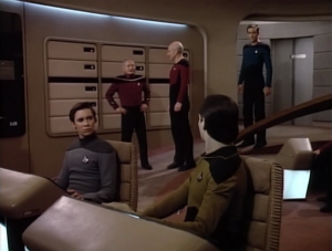 "When Riker shouts out ""admiral on the bridge"" I guess it's just an fyi, because everyone just keeps doing whatever they were doing"