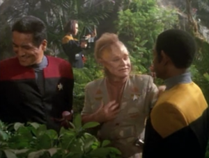 Neelix and Tuvok discover that they have something in common: they both breed orchids. Tuvok makes orchid breeding seem cool. I bet Neelix is a poser orchid breeder