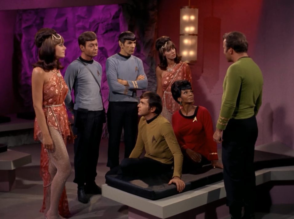 """Kirk: """"Do you mind leaving us"""" Alice: """"Why should we leave you?"""" Kirk: """"Because we don't like you"""""""