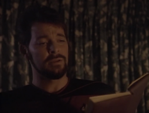 Riker finds a dead astronaut and a novel that this whole place is based on. Events are unfolding just like in the book