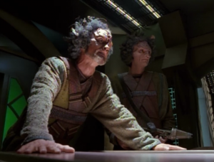 Cullah meets with another sect of the Kazon to try to form an alliance to take down Voyager