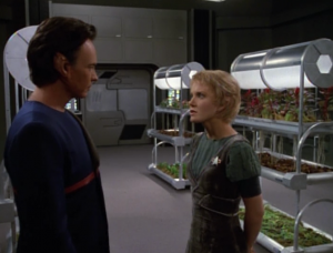Kes shows him her plants. Tanis explains how the Ocampa on the station live twice as long as the Ocampa on the home world, and they are much more powerful