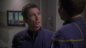 Reed asks if he can try to improve the defense of the ship by having an alert that automatically prepares the ship. One of the characteristics I like about Reed is him wanting to improve the ship, and the viewers being able to see the ship become better throughout the series because of his changes