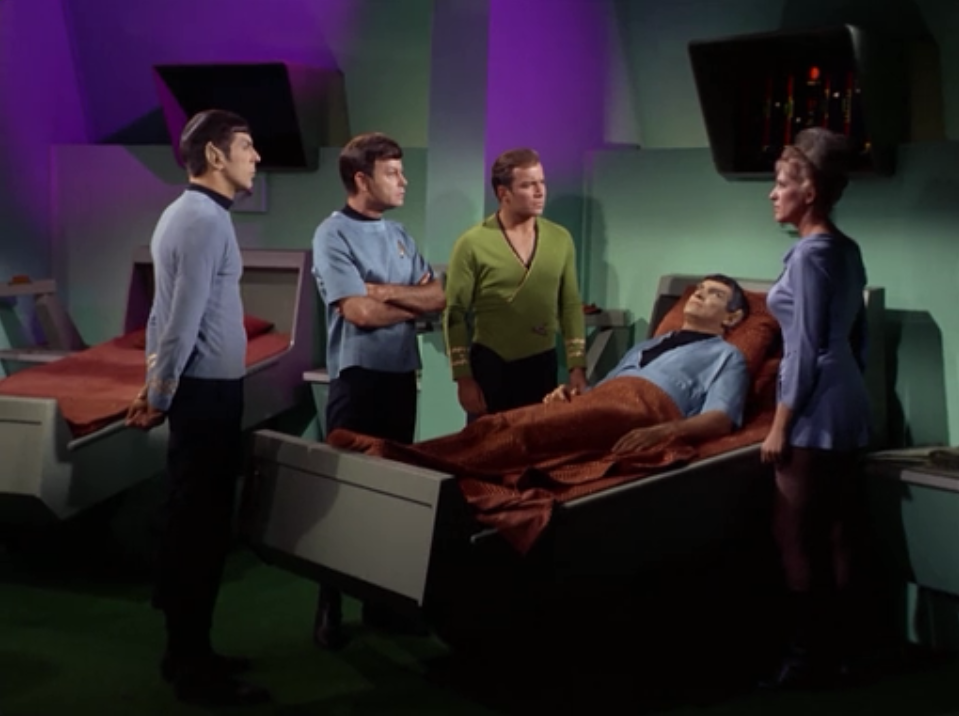 Sarek has a Vulcan heart attack and the only way to save him is for Spock to risk his life in an operation