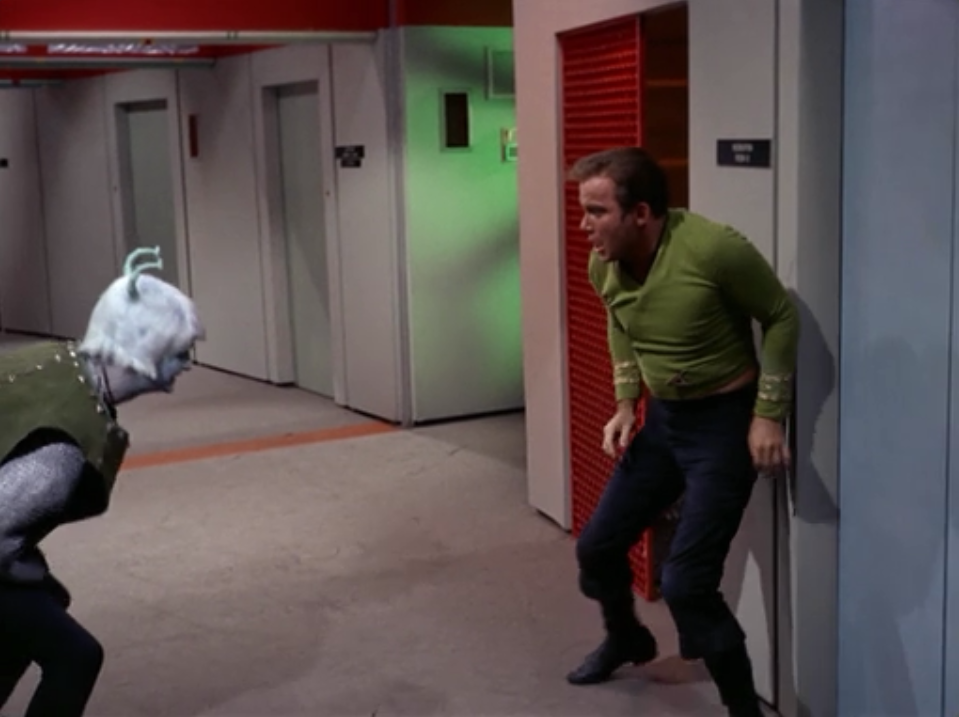 An Andorian attacks Kirk! He stabs Kirk a bunch of times!