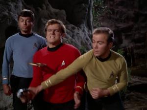 It didn't take long before a red shirt goes down. The sound of their ninja stars flying through the air is comical