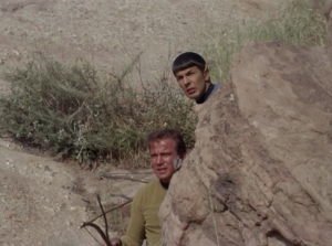 """Kirk doesn't like that guy.Kirk: """"There's just one thing I want""""Spock: """"The Klingon?""""Kirk: """"One of us must get him""""Spock: """"Revenge captain?""""Kirk: """"Why not"""""""