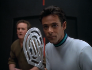 Bashir and O'Brien play future-racquetball. Or tennis. Or something. They hate each other again