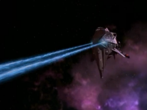 A Kazon ship was hiding in a cloud. They attack and know the rotation of shield frequencies for Voyager