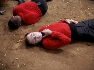 They go back to the planet to kill the thing. So more red shirts go down