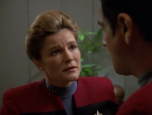 Janeway chews out Chakotay for his reckless decision. I think she went easy on him.