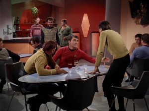 The Klingons try to start some trouble. They make fun of Kirk...