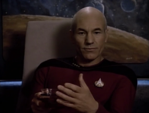 They go into talking about whether it's their place to interfere with cosmic fate. Picard also talks about how the prime directive is meant to protect them from letting feelings interfere. He asks if they should interfere if a planet was suffering from famine. Pulaski says definitely. He then asks if a planet was engaged in a terrible war, and Pulaski hesitates. So what? Those situations are different. She's the one who earlier argued that they need to consider exceptions.