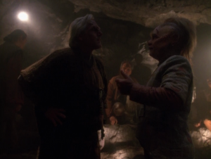 Neelix meets a group of the Trabe, who are the group that used to enslave the Kazon