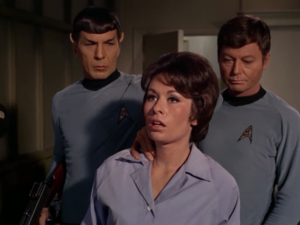 Spock knocks out a lady that's just trying to listen to her radio