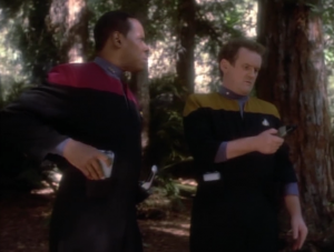 Sisko and O'Brien beam to a planet and none of their stuff works