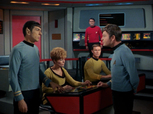 """""""Are you out of your Vulcan mind?"""" This is a good episode for Bones and Spock banter"""