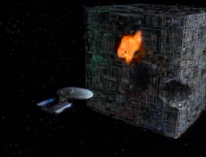 The have a battle. Enterprise loses 18 people and a chunk of their ship, but the Borg seem done. They read minimal life signs