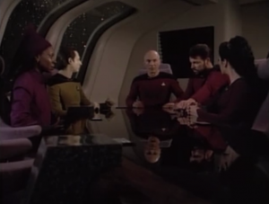 Picard calls a conference to discuss things. Riker suggests they beam over to the ship to check things out. They want to learn as much as they can. Guinan's the only one who thinks that's crazy