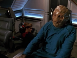 Paris escapes and steals Janeway and then goes to warp 10, to infinite velocity