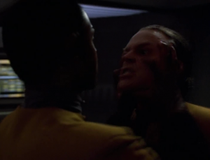 Tuvok escapes and goes to kill Suder. He holds back