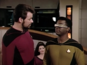 Riker manages to outsmart the Pakleds and get Geordi back