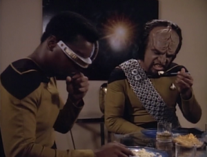 There's a weird part in the beginning about Riker making bad scrambled eggs.