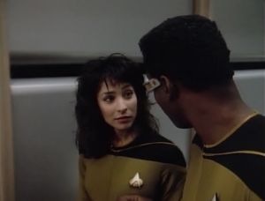Geordi gives Sonja, the new ensign, lessons on how not to be such a dork. She must not know much about Geordi