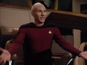 The Borg pursue them, and this time Enterprise's weapons don't have any effect. Picard gives in and asks for Q's help